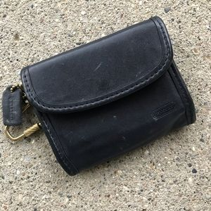 Vintage COACH Black Leather Coin Pouch Wallet